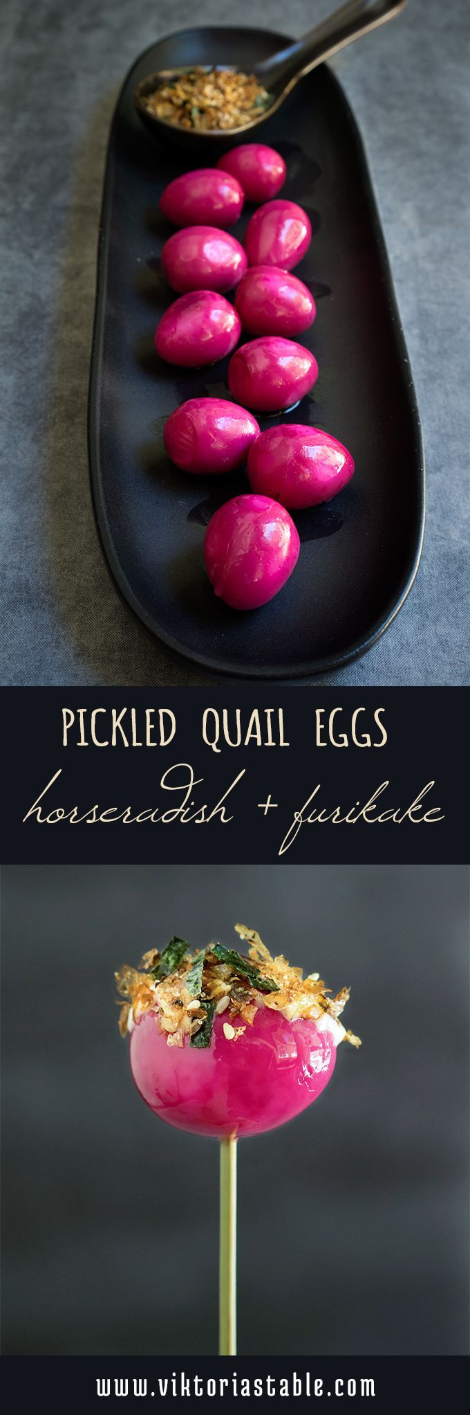 These cute pickled quail eggs are as delicious as they are stunning to look at - served with horseradish mayo, and furikake, they make a spectacular appetizer. |   #quail #quaileggs #pickled