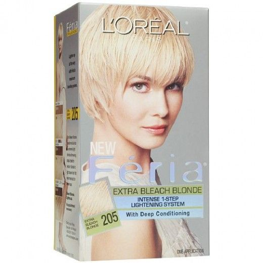 Recommended: Loreal Feria Extra Bleach Blonde 205. This is my favorite bleach kit. It's a great one-step treatment that took my hair from a medium brown a very light yellow blond.