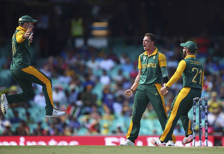 David Miller leaps in to celebrate with Dale Steyn, South Africa v Sri Lanka, World Cup 2015, 1st quarter-final, Sydney, March 18, 2015