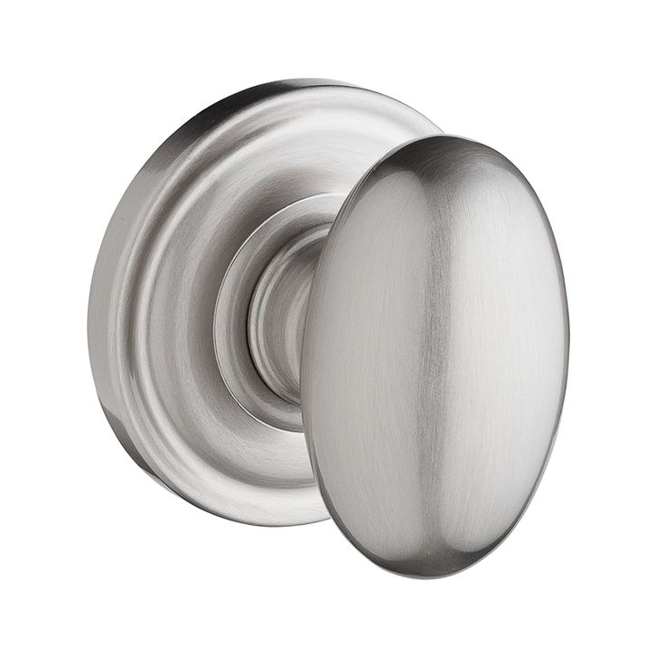 BALDWIN Reserve Ellipse Satin Nickel Egg Push Button-Lock Privacy Door Knob