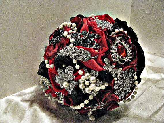 Heirloom Brooch Bouquet in Redblack brooch by thealteredchick, $148.00