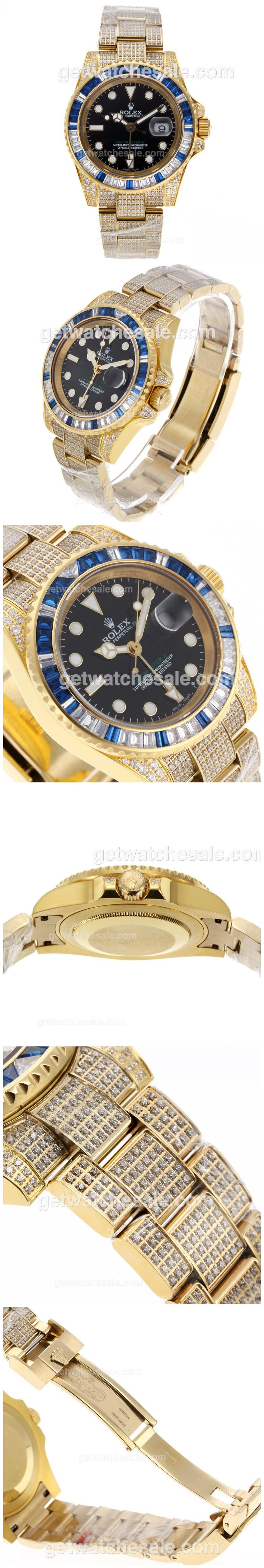 Rolex GMT-Master II Swiss ETA 2836 Movement Full Gold Blue/White CZ Diamond Bezel with Full Diamond Strap sale $868.00