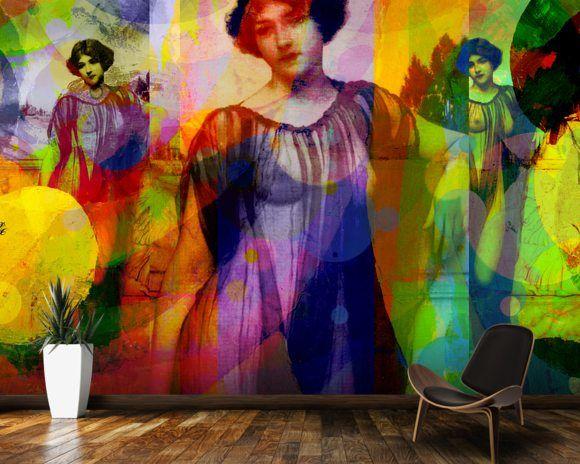 I Heard Love is Blind Lila Orange mural wallpaper room setting