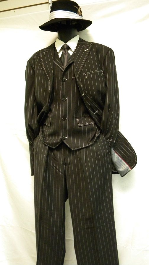 Zoot Suits by Milano Moda Black White Gangster Stripe 3 Piece 5903V