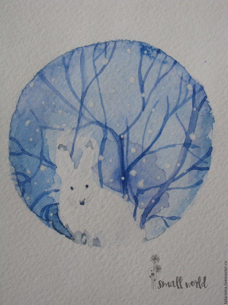 """Купить Авторская открытка """"Заяц"""" - белый, поздравление, поздравительная открытка, новый год 2016, Новый Год"""
