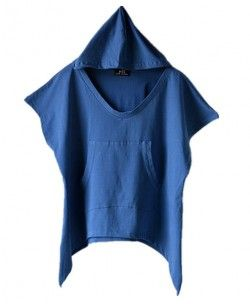 Blue Slouchy Hooded T-shirts with Batwing Sleeves