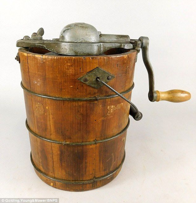 It may look like a butter churn but this is in fact a Victorian ice cream maker, made by the OK brand. It's roughly 100 years old