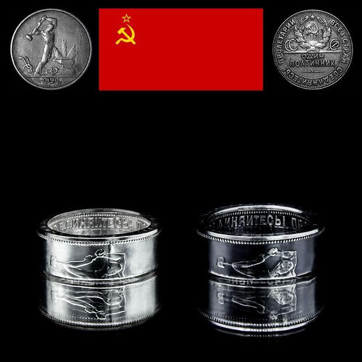 Coin Ring created from old USSR Kopeck Münzring aus alter UdSSR Kopeke Монетные кольца, созданные из старого СССР Копеек ----Info---- Year - Jahr - Год:  1924-1927 Material - Материал: 0.900 Silver Weight - Gewicht - Вес: 8.6g Ring Size - Ring Größe - Размер кольца: 19.1mm - US 9.1 Height - Höhe - высота: ca. 7mm http://toc.sale/produkt-kategorie/coinrings/udssr/