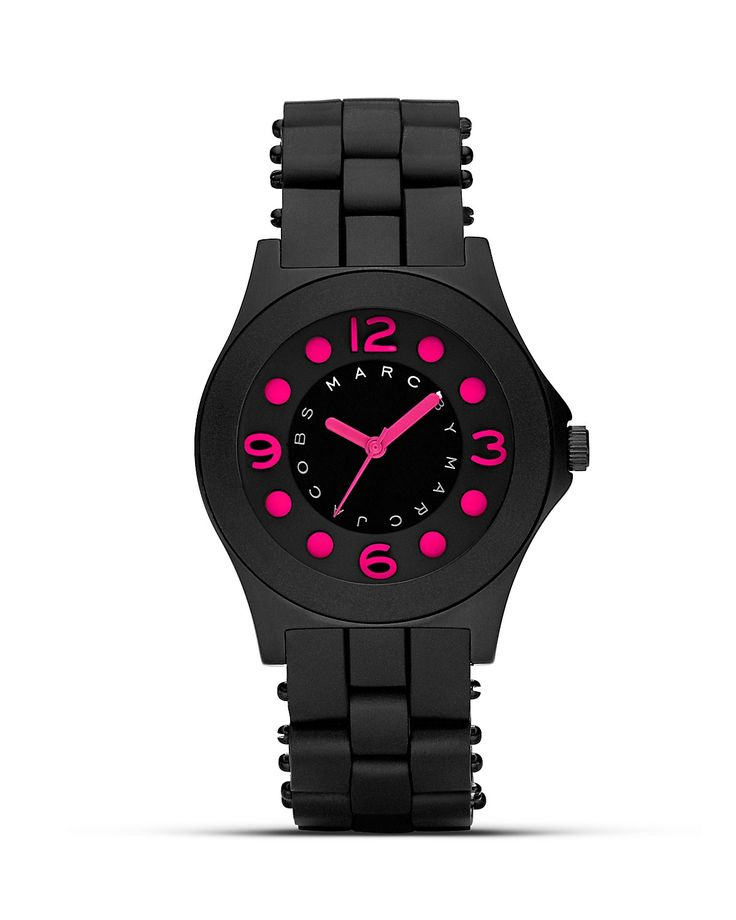 MARC BY MARC JACOBS Pelly Black and Pink Silicon Watch, 36.5mm   Bloomingdales