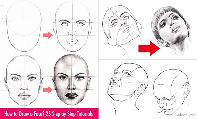How to Draw a Face - 25 Step by Step Drawings and Video Tutorials. Read full article: http://webneel.com/how-draw-faces-drawings | more http://webneel.com/drawings | Follow us www.pinterest.com/webneel