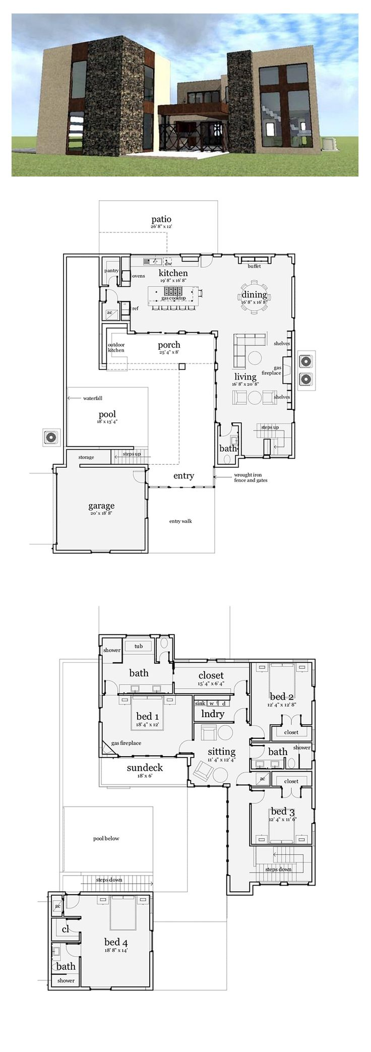 Modern House Plan 70803 | Total Living Area: 3100 sq. ft., 4 bedrooms & 3.5 bathrooms. #modernhouseplan #houseplan