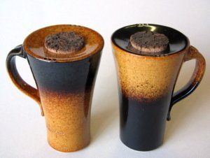 unique ceramic coffee travel mug handmade coffee mugs...reverse of colors with a saucer top and cookie on top.