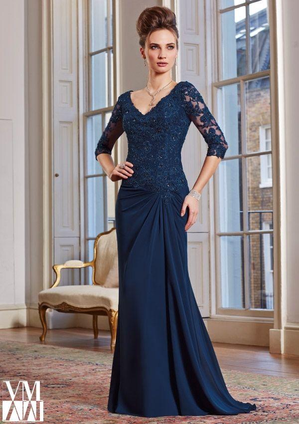 2014   Elegant  A  line  Mother of the Bride  Dress Lace Chiffon Sweep/Brush V Neck  Floor length Simple Half  Sleeve