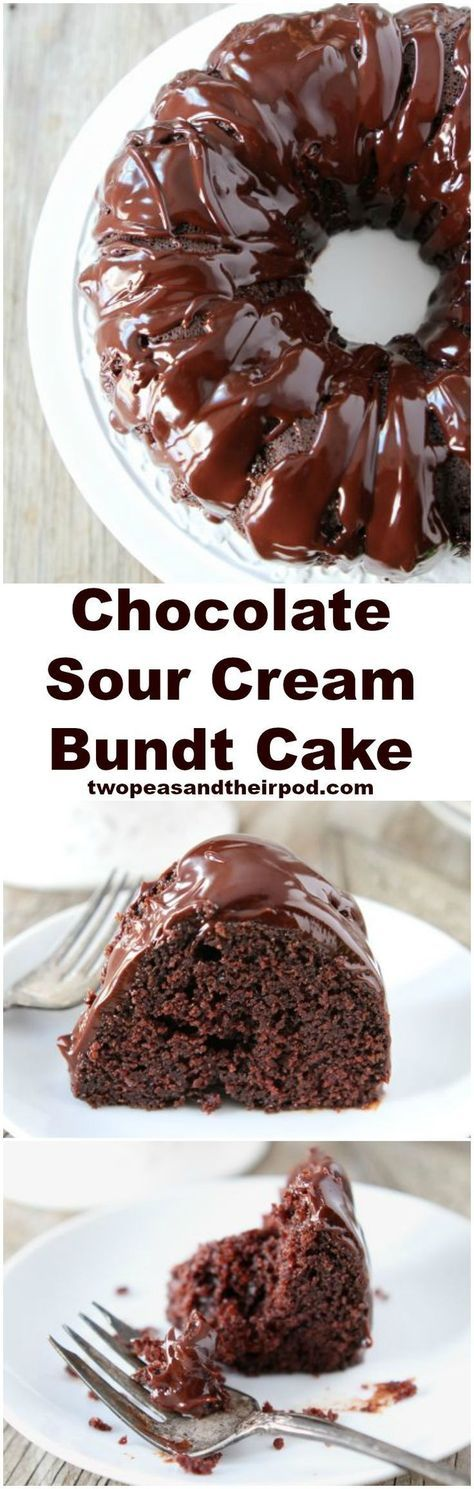 Chocolate Sour Cream Bundt Cake Recipe on http://twopeasandtheirpod.com The BEST chocolate cake recipe and it's so easy to make! Everyone LOVES this cake!