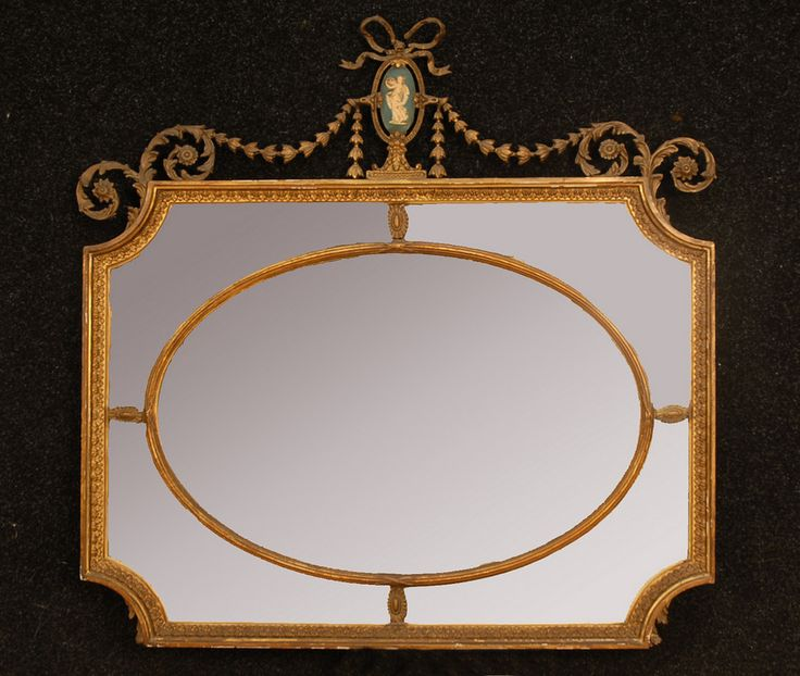 adams decorated overmantle mirror wedgwood style composition crest over scalloped corner segmented mirror with oval central panel 39 x 39