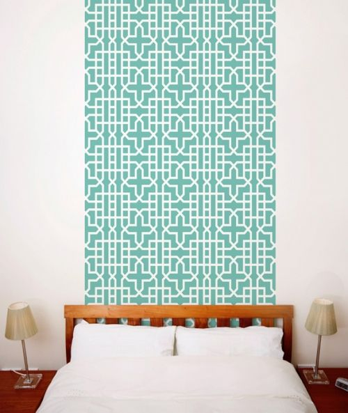 Teal Geometric Wallpaper Tiles | Wallpaper Tiles  Two Sheets (Each sheet measures 25'' x 50'')  $48