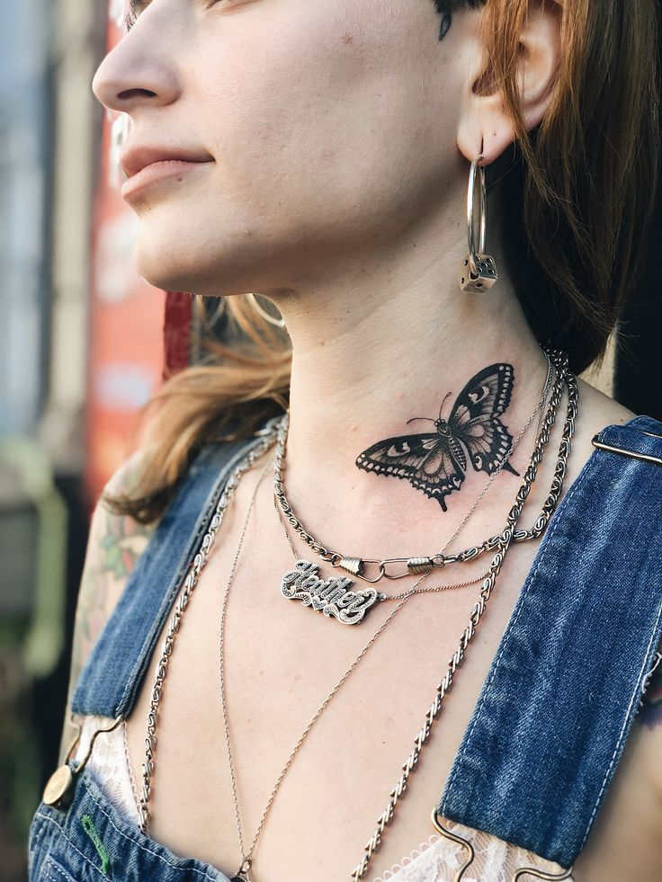 Butterfly neck tattoo by Big Steve at Fun City in NYC   Butterfly neck tattoo, Neck tattoo, Tattoos