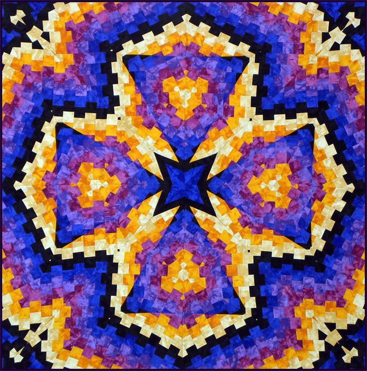 """Northern Lights"" Tubello Strip Pieced Kaleidoscope Quilt, Rita Hutchens."