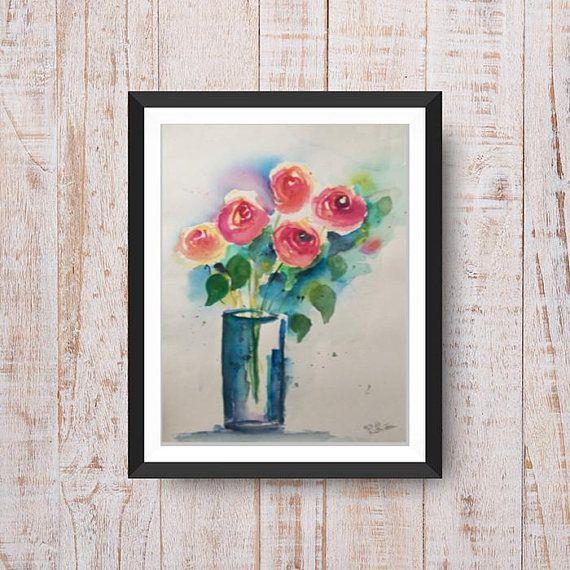 Ursprüngliche Aquarellmalerei blüht Blumen Aquarell-Kunstmohnblumen