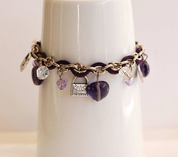 Mauve charms and chain bracelet . Friendship by MeandMamaCreations