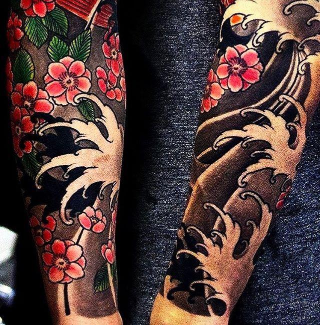 Japanese tattoo sleeve by @munken_tattooist. #japaneseink #japanesetattoo #irezumi #tebori #colortattoo #colorfultattoo #cooltattoo #largetattoo #armtattoo #tattoosleeve #flowertattoo #cherryblossomtattoo #blackwork #blackink #blacktattoo #wavetattoo #naturetattoo
