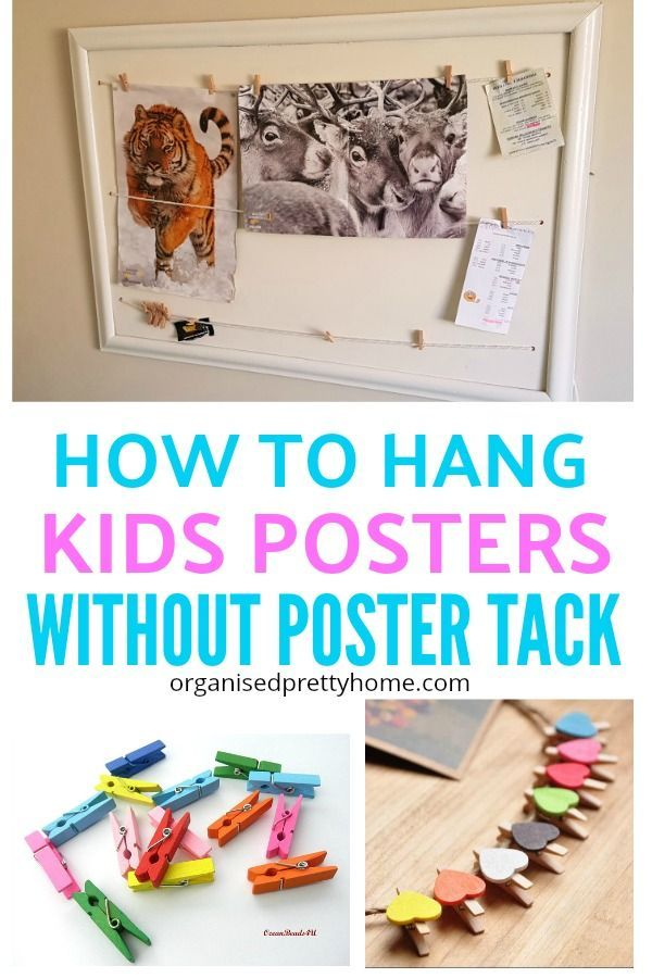 Have Kids Who Want To Hang Up Posters In Their Bedroom Check Out This Simple Diy Idea Without Using Poster Tack Damaging Painted Walls