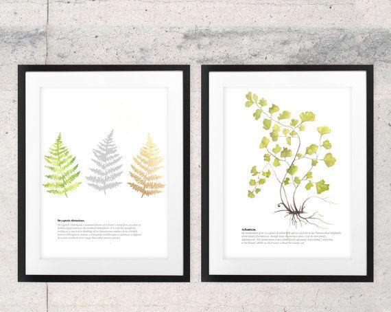 Botanische fern aquarel blad afgedrukt natuur door WhiteDoePrints
