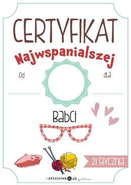 Certyfikat najwspanialszej Babci - Printoteka.pl