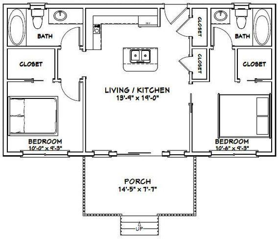 36x20 House 2 Bedroom 2 Bath 720 Sq Ft Pdf Floor Plan Etsy In 2020 Cottage Floor Plans Cabin Floor Plans Small House Floor Plans