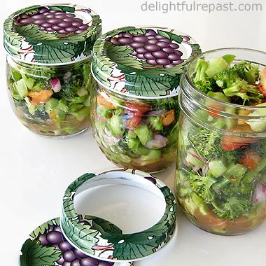 Broccoli Salad - in half-pint canning jars, perfect for the lunchbox or picnic basket / www.delightfulrepast.com