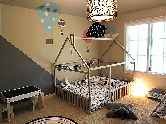 Kids room ideas Children bed FULL/DOUBLE size, frame bed, house bed, toddler nursery, children furniture wooden house, kids bedroom, home design