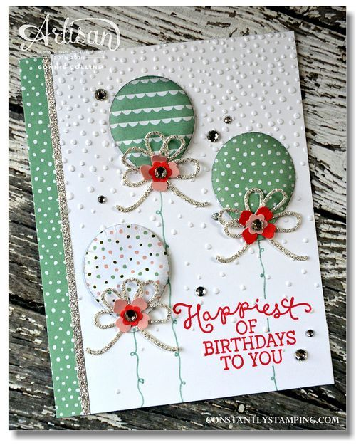 Connie's fancy balloon card: Birthday Blooms, Birthday Bouquet dsp, Balloon Bouquet Punch, Softly Falling embossing folder, & more - all from Stampin' Up!