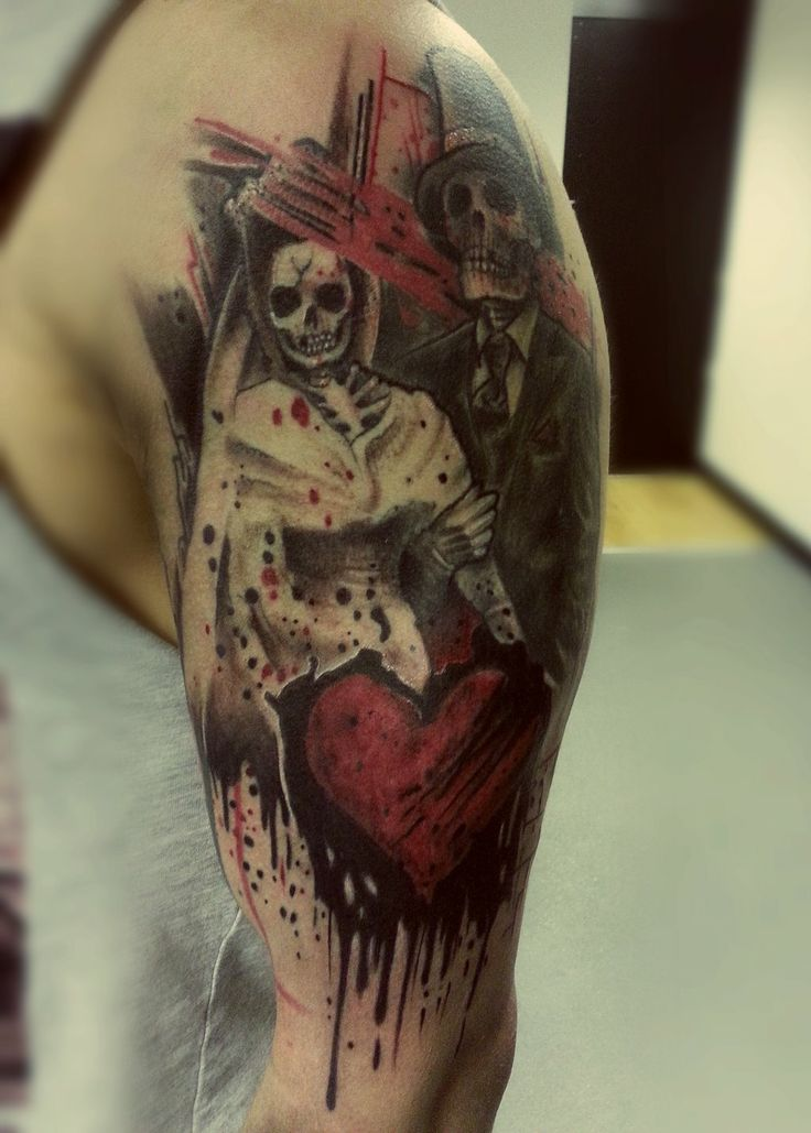 Skeleton tattoo by jackburginart