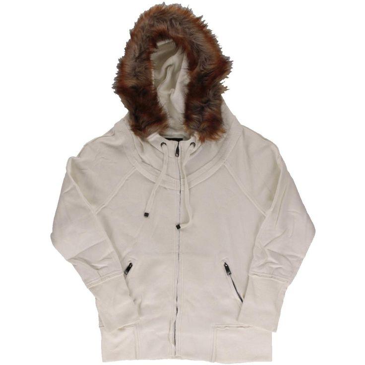 Marc New York Womens Fleece Faux Fur Hoodie