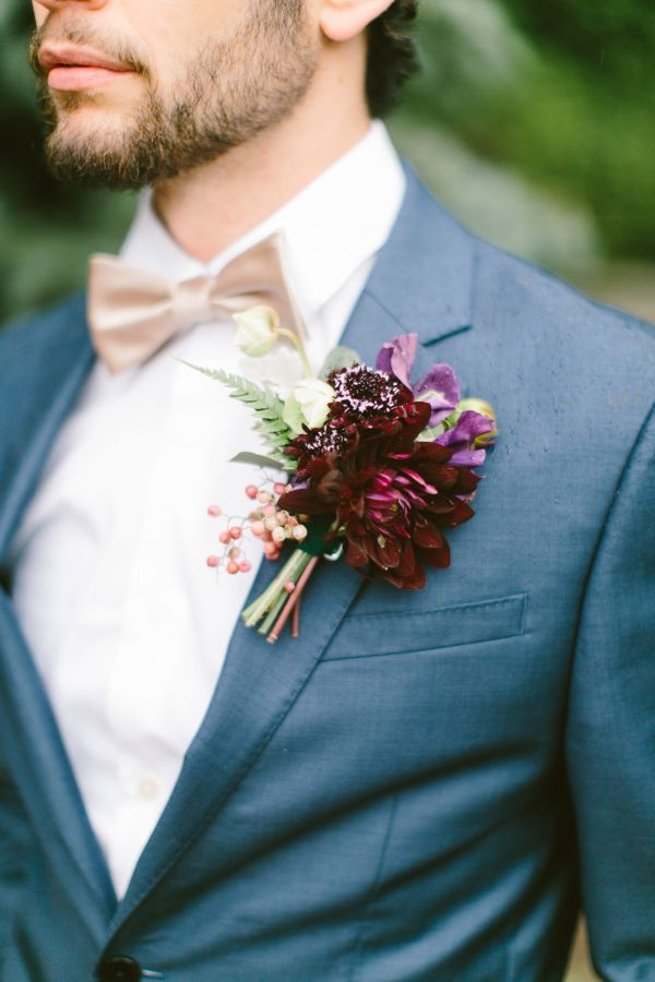 Bohemian jewel toned boutonniere for the groom: http://www.stylemepretty.com/little-black-book-blog/2015/12/09/touch-of-boho-jewel-toned-wedding-inspiration/ | Photography: Brianna Wilbur - http://briannawilbur.com/