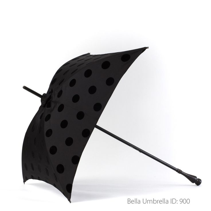 Umbrella ID 900 | Unique Square Black Umbrella with Black Velvet Polka Dots  | Black Wood Post Handle | Bella Umbrella | Vintage Umbrella Rentals