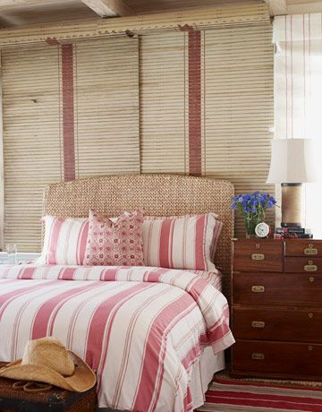 Pretty subtle red stripes, but especially like the #nautical trunk-chest