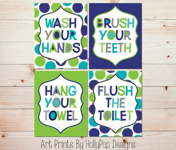 bathroom manners wall decor wash your hands brush your teeth blue aqua lime green - Lime Green Bath Decor