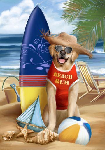 Beach Bum by Thomas Wood ~ dog ~ surfboard ~ whimsical