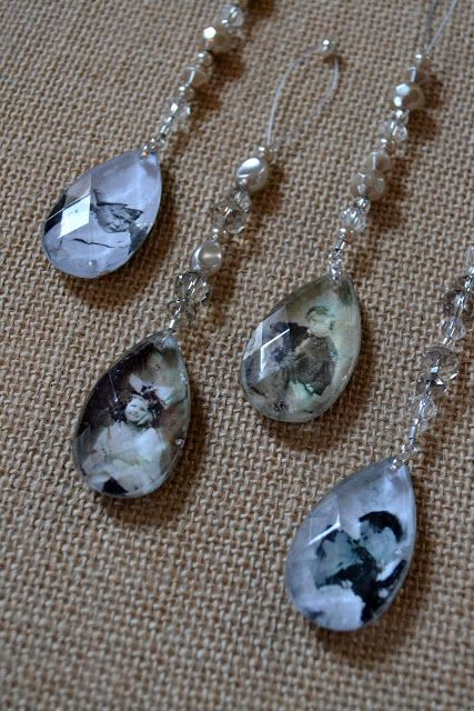 ♥ this- Crystal Pendant Family Photo Ornaments ~ with Mod Podge add to your bouquet. Or pin to family corsages.