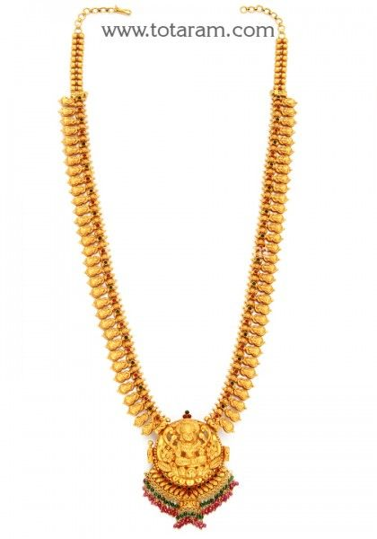 22 Karat Gold '6 in 1' Lakshmi Vaddanam, Oddiyanam, Waist Belt, Kammar Patta (Temple Jewellery)  Length: Standard Length is 33 inches.  This is adjustable upto 35 inches and the Length can be further increased by adding round rings & the Weight would increase by 15 gms. This item can also be used as Baby Vaddanam,Long Necklace,Medium Necklace, Necklace & Pendant Gross Gold Weight : 104.050 grams Weight of Baby Vaddanam : 84.450 grams Weight of Long Necklace : 104.050 gr...