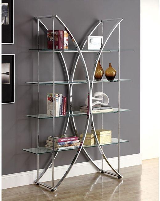 Chrome Display Case W Tempered Glass Shelves Shelving Unit  Show Decor Case New #Etagere #Contemporary #Furniture #Shelves #Home #LivingRoom