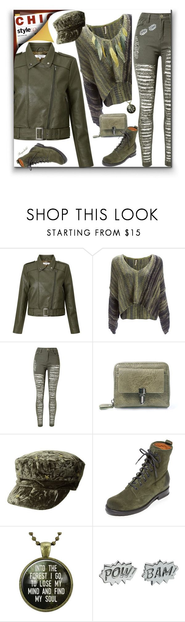 """Cool Girls Style Military Green Leather Jacket & Mini Bag"" by ragnh-mjos ❤ liked on Polyvore featuring Great Plains, WithChic, BCBGeneration, Frye, Edge Only and Michael Michaud"
