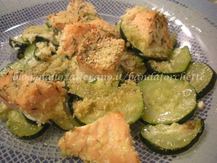 Bocconcini di salmone e zucchine al forno - Ricetta light