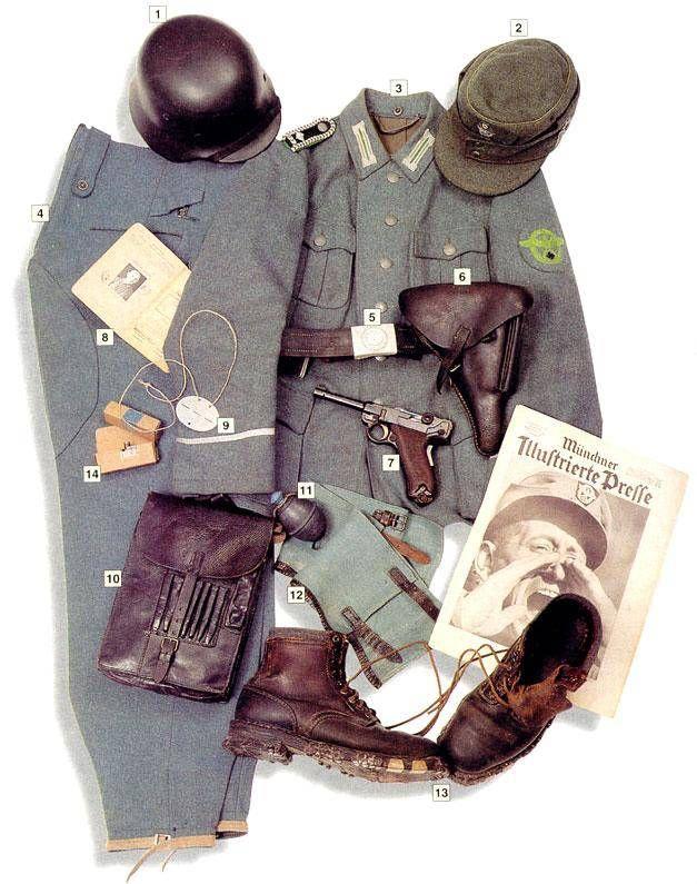 "Schtzupolizei hauptwachtmeister (Master sergeant), 1943 01 - M-40 steel helmet 02 - Bergemutze M-43 field cap with green markings (""Waffenfarbe Hellgrun"" of the mountain units 03 - M-40 police jacket, Schutzpolizei emblem on the sleeve 04 - mountain troops' ski trousers 05 - leather belt 06 - hoster for P-08 pistol 07 - 9 mm P-08 pistol 08 - payment book 09 - dog tag 10 - Meldetasche map pouch 11 - M-39 grenade 12 - leggins 13 - mountain boots 14 - 9 mm ammo pack"