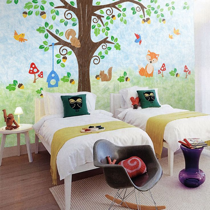 Free shipping squirrel house art wallpaper nonwoven large mural bedroom living room dining custom size