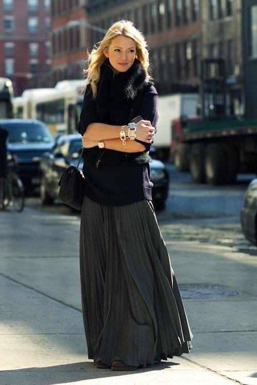 black, navy, grey layers...long pleated skirt...mmm