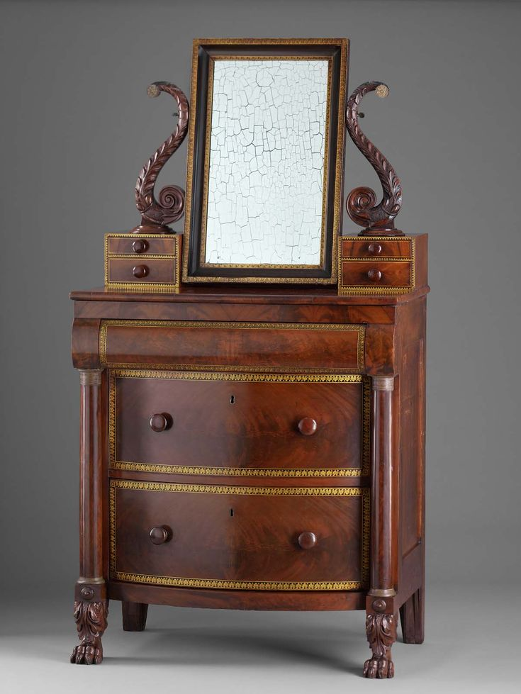 Dressing bureau and mirror, mahogany veneer on poplar. Edward Holmes and  Simeon Haines. Boston Museum of Fine Art. - 216 Best Style - Empire Images On Pinterest