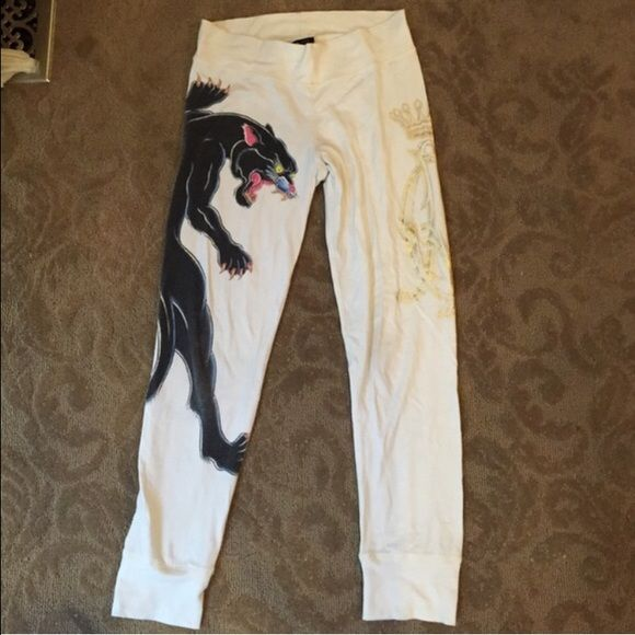 White Christian Audigier leggings White leggings, Christian Audigier with a black panther down the right leg. Worn Christian Audigier Pants Leggings