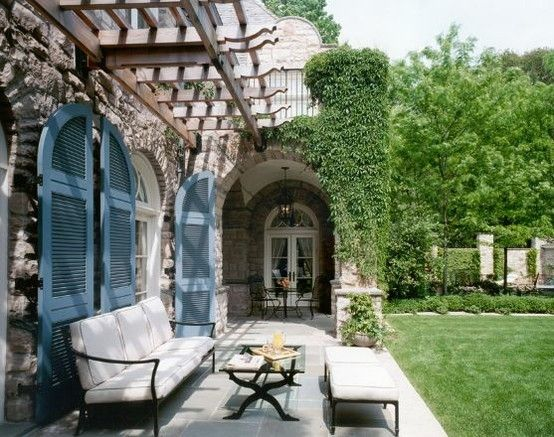 Shantygirl: French Blue shutters outdoor area: French Blue Shutters, New House, Favorite Places, Pergolas, Outdoor Living, Dreams House, Outdoor Spaces, Back Decks, Cocktails